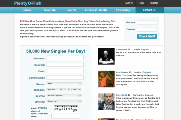 Online dating plenty of fish
