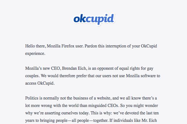 OkCupid Block Firefox Over Gay Rights