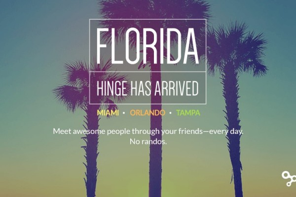 Hinge Continues US Growth, Launches In Florida