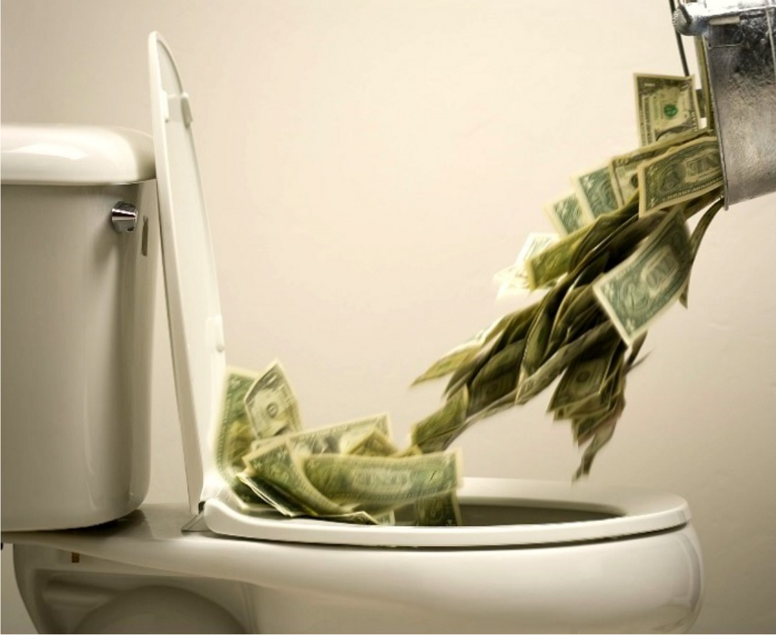money going down toilet