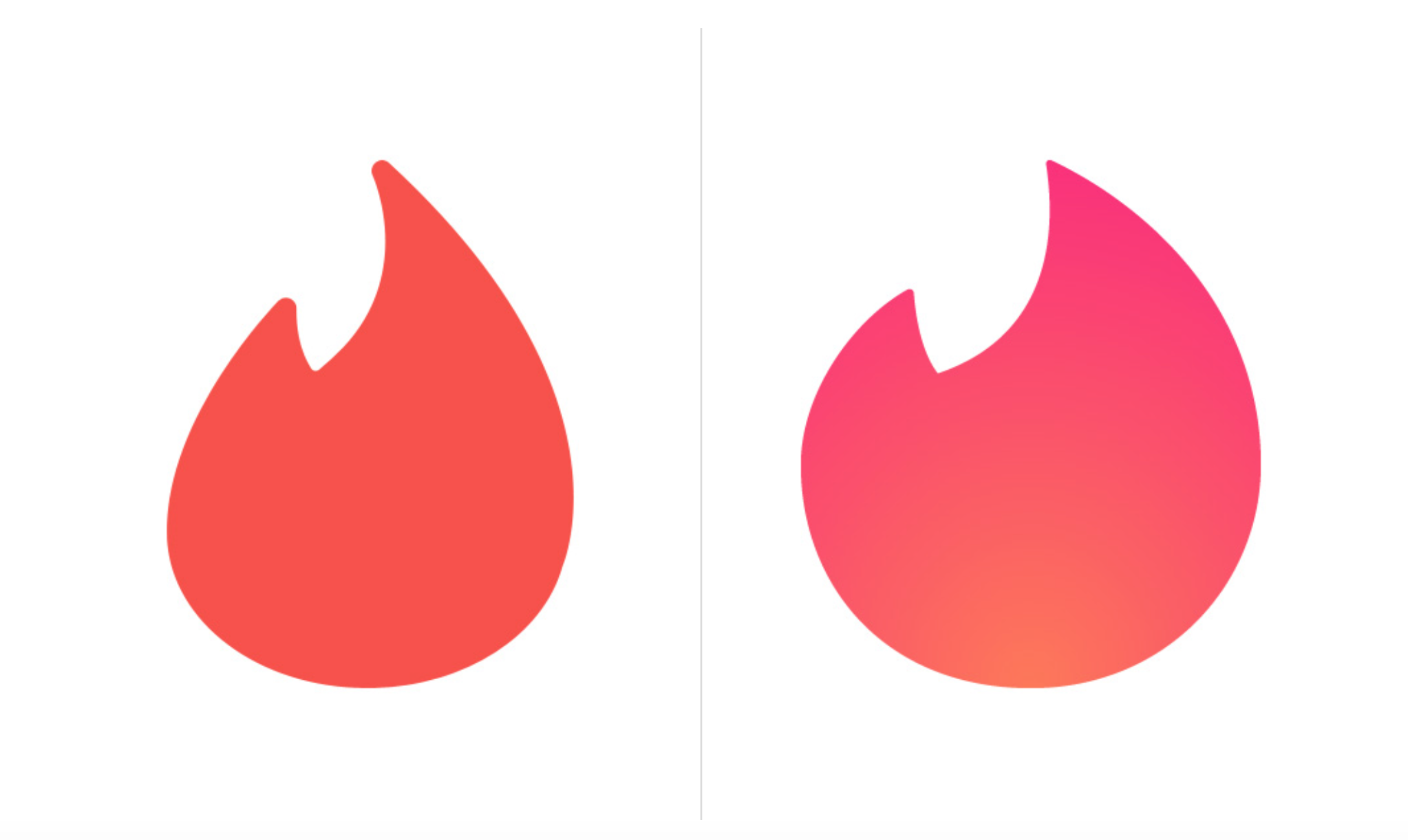 Modern dating service with a flame in its logo