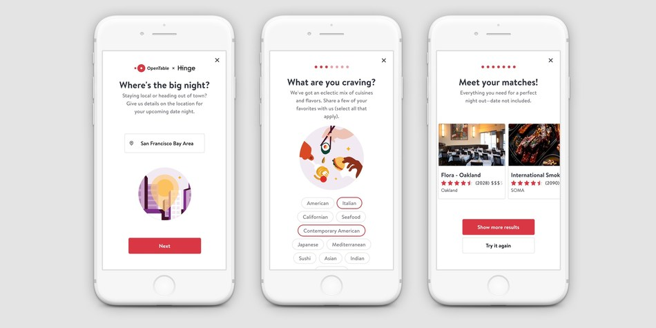 Hinge Partners With OpenTable to Help Users Find the Perfect Date Location