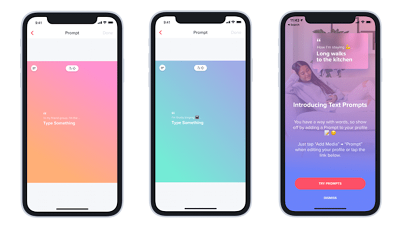 Tinder Launches Text Prompts to Assist Creative Icebreakers