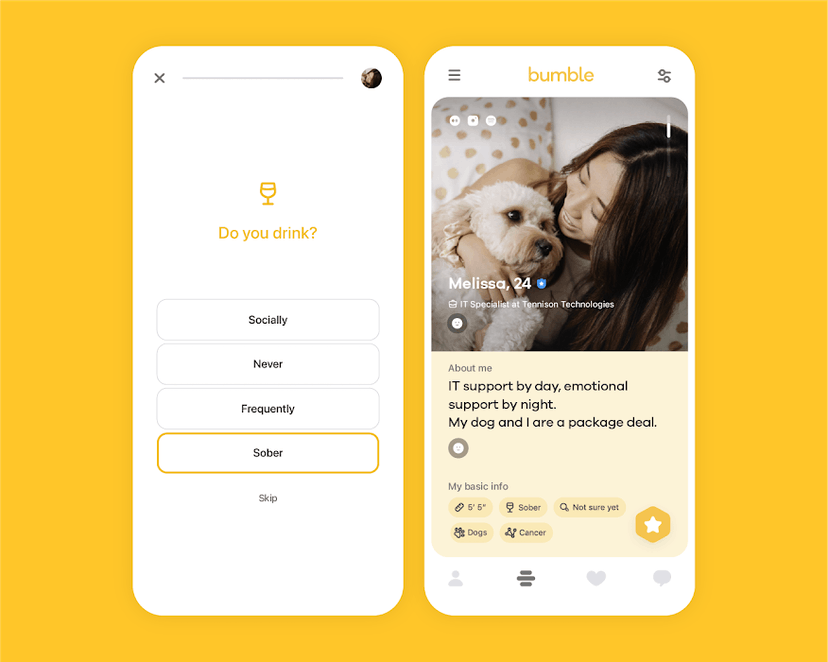Bumble Adds 'Sober' Badge For Singles Who Never Drink